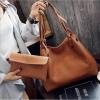 Fashion Bag กระเป๋าเป้ กระเป๋าสะพายข้างสีดำ กระเป๋าเซต 2 ใบ No.0111 - Brown (รหัสสินค้า 2AHI0RK)