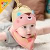 ไซส์ 0-8 เดือน หมวกเด็ก พร้อมผ้ากันกันเปื้อนสามเหลี่ยม - สีชมพู