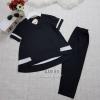 เซ็ต 2 ชิ้น เสื้อคอวีแต่งแขนและชายด้วยแถบสีขาว