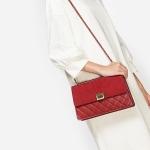 กระเป๋าสะพายข้าง QUILTED PUSH-LOCK SLING BAG CK2-20680547 ใหม่ ชนชอป สิงคโปร์ หนังนิ่ม