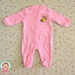 ไซส์ 0-3 3-6 เดือน ชุดหมีเด็กแบบคลุมเท้า แขนยาว - สีชมพู