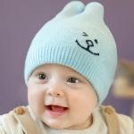 ไซส์ 3-12 เดือน หมวกเด็กเกาหลีไหมพรมนิ่ม สีฟ้า