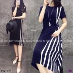 Dress แขนสัน้ สีพื้นดำ งานผ้าโฟร์เวย์ ดีเทลตัดต่อด้านข้าง