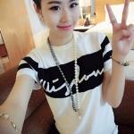 Korea เสื้อยืดแฟชั่น ผู้หญิง T-Shirt คอกลม แขนสั้น (สีขาว)รุ่น 040 (รหัส 2zvOBP4)