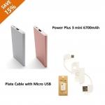 แบตสำรองบาง Slim 5300mAh & สายชาร์จ Plate Cable with Micro USB