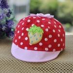 [ไซส์ 3-18 เดือน] หมวกเด็กลายสตอเบอร์รี่ - สีแดง