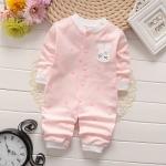 ไซส์ 0-3 เดือน ชุดหมีแขนยาว ขายาวผ้านิ่มพิเศษ - สีชมพู