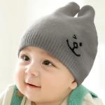 ไซส์ 3-12 เดือน หมวกเด็กเกาหลีไหมพรมนิ่ม สีเทา