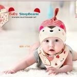 ไซส์ 0-8 เดือน หมวกเด็ก พร้อมผ้ากันกันเปื้อนสามเหลี่ยม - สีครีม