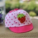 [ไซส์ 3-18 เดือน] หมวกเด็กลายสตอเบอร์รี่ - สีชมพู