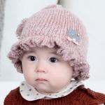 ไซส์ 0-6 เดือน หมวกเด็กเกาหลีไหมพรม สีชมพู