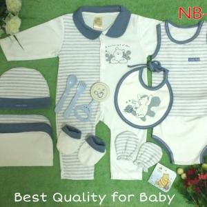 เซทเด็กเล็ก 12 ชิ้น สีขาวฟ้า ไซส์ 0-3 เดือน