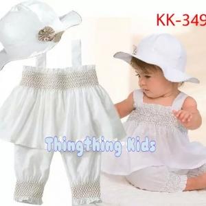 ชุดเสื้อและกางเกงสีขาว พร้อมหมวก ไซส์ 80,90,95,100