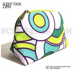 Clinique Chic cosmetic bag กระเป๋าเครื่องสำอางกราฟฟิคเขียว-ขาว
