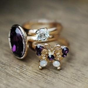 แหวนแฟชั่น ผีเสื้อ 3 in 1