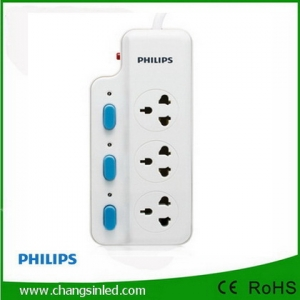 รางปลั๊กไฟ Philips 3 ช่องเสียบ 3 สวิตช์ 3m.