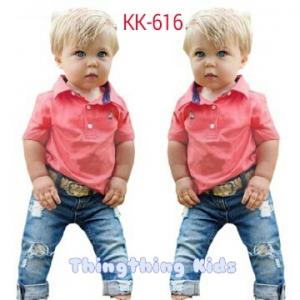 ชุดเสื้อสีชมพูอมแดง และกางเกงขายาวสีน้ำเงิน ไซส์ 90,100,110,120,130