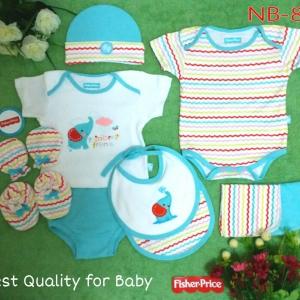 เซทเด็กเล็ก 10 ชิ้น สีฟ้าลายช้าง ไซส์ 0-3 เดือน