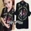 DR-LR-273 Lady Kate Flower Embroidered Shirt Dress in Black thumbnail 7