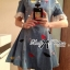 DR-LR-218 Lady Lulu Surreal Embroidered Cut-Out Insert Lace Denim Dress thumbnail 4
