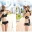 SM-V1-347 ชุดว่ายน้ำบิกินี่ทูพีช สีดำสวย (สายบราเหมือนเสื้อชั้นใน) thumbnail 1