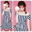 DR-LR-223 Lady Jenny '50s Style Mixed Striped Dress thumbnail 1
