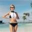 SM-V1-398 ชุดว่ายน้ำ เสื้อกล้ามซิปหน้า กางเกงบิกินี่สีดำ thumbnail 1