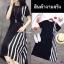 Dress แขนสัน้ สีพื้นดำ งานผ้าโฟร์เวย์ ดีเทลตัดต่อด้านข้าง thumbnail 3