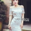 Lady Camille Off-Shoulder Embroidered Lace Body-Con Dress L259-8506 thumbnail 2