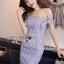 Lady Felicia Sexy Feminine Off-Shoulder Lilac Lace Dress L271-7909 thumbnail 8