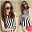 DR-LR-206 Lady Carissa Sleeveless Striped Knit Dress in Black and White thumbnail 1