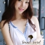 DR-LR-121 Chicly Cami White Dress Blue Retro Embroider Style thumbnail 4