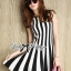 DR-LR-206 Lady Carissa Sleeveless Striped Knit Dress in Black and White thumbnail 3