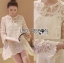 Lady Camilla Classic Feminine off- whiteLace Dress with Ribbon L249-79C03 thumbnail 1