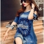 Lady Rose Embroidered Cut-Out Shoulder Denim Dress L193-79C07 thumbnail 4