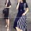 Dress แขนสัน้ สีพื้นดำ งานผ้าโฟร์เวย์ ดีเทลตัดต่อด้านข้าง thumbnail 1