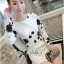 DR-LR-266 Lady Elegant Monochrome Embroidered Lace Dress thumbnail 2