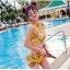 SM-V1-383 ชุดว่ายน้ำเอวสูง เซ็ต 2 ชิ้น สีเหลืองลายสวย thumbnail 5