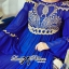 DR-LR-151 Lady Jacqueline Embroidered Chiffon Pleated Dress in Electric Blue thumbnail 7