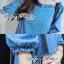 DR-LR-231 Lady Adele Off-shoulder Denim Ribbon Dress thumbnail 4