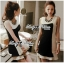 DR-LR-156 Lady Rachel Minimal Chic Ruffle Dress in Black and White thumbnail 4