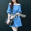 DR-LR-231 Lady Adele Off-shoulder Denim Ribbon Dress thumbnail 2