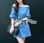 DR-LR-231 Lady Adele Off-shoulder Denim Ribbon Dress thumbnail 2