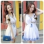 DR-LR-121 Chicly Cami White Dress Blue Retro Embroider Style thumbnail 3