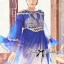 DR-LR-151 Lady Jacqueline Embroidered Chiffon Pleated Dress in Electric Blue thumbnail 2