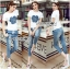 Lady Coco Camellia Denim Embroidered T-Shirt and Skinny Jeans Set L263-8904 thumbnail 6