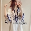 Lady Rachel Summery Classic Dark Blue and White Embroidered Dress L271-6904 thumbnail 7