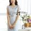 DR-LR-143 Lady Samantha Jewelled Neckline Lace Tube Dress with Belt thumbnail 6