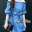 DR-LR-231 Lady Adele Off-shoulder Denim Ribbon Dress thumbnail 5
