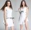 Lady Lucy Minimal Chic Metal Loop Ribbon White Dress L275-7917 thumbnail 9